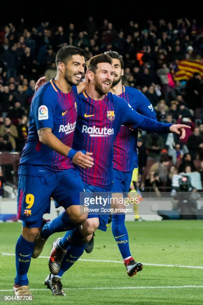 Lionel Andres Messi of FC Barcelona celebrates his goal with teammates Luis Alberto Suarez Diaz and Andre Filipe Tavares Gomes during the Copa Del...