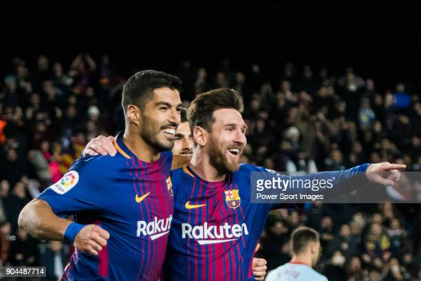 Lionel Andres Messi of FC Barcelona celebrates his goal with teammate Luis Alberto Suarez Diaz during the Copa Del Rey 201718 Round of 16 match...