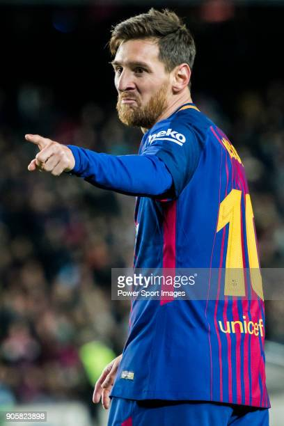 Lionel Andres Messi of FC Barcelona celebrates his second goal during the Copa Del Rey 201718 Round of 16 match between FC Barcelona and RC Celta de...
