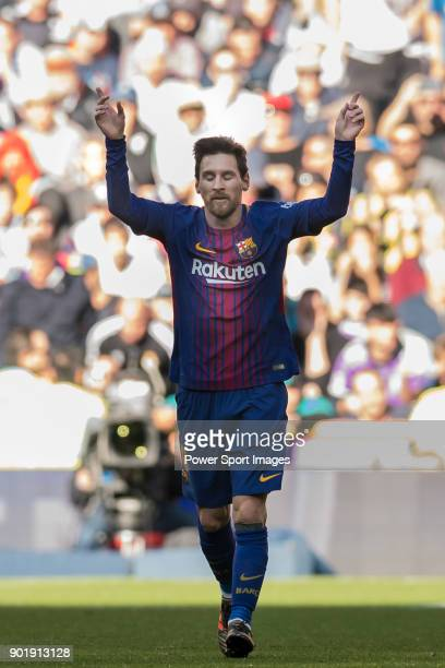 Lionel Andres Messi of FC Barcelona celebrates scoring the second goal for the team during the La Liga 201718 match between Real Madrid and FC...