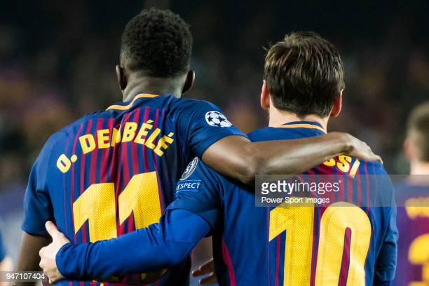 Lionel Andres Messi of FC Barcelona celebrates with teammate Ousmane Dembele during the UEFA Champions League 201718 Round of 16 match between FC...