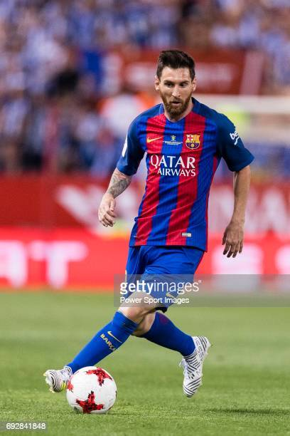 Lionel Andres Messi of FC Barcelona in action during the Copa Del Rey Final between FC Barcelona and Deportivo Alaves at Vicente Calderon Stadium on...