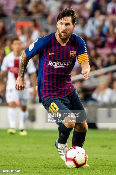 Lionel Andres Messi of FC Barcelona in action during the La Liga 201819 match between FC Barcelona and SD Huesca at Camp Nou on 02 September 2018 in...