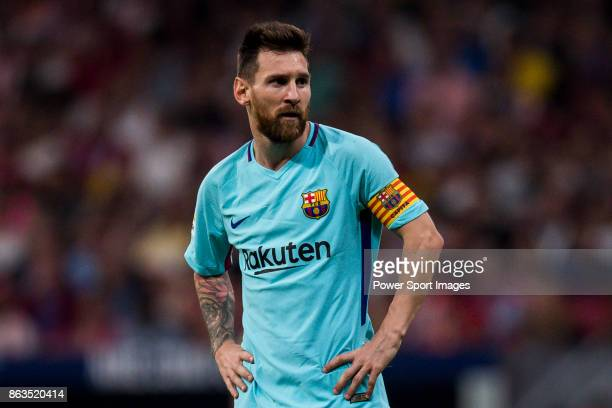 Lionel Andres Messi of FC Barcelona in action during the La Liga 201718 match between Atletico de Madrid and FC Barcelona at Wanda Metropolitano on...