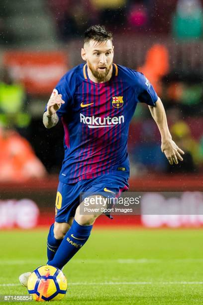 Lionel Andres Messi of FC Barcelona in action during the La Liga 201718 match between FC Barcelona and Sevilla FC at Camp Nou on November 04 2017 in...