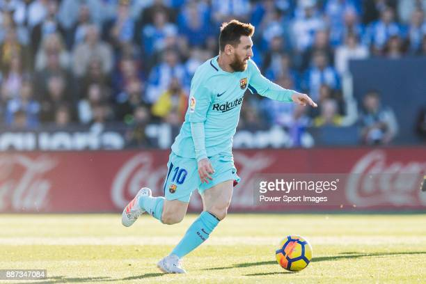 Lionel Andres Messi of FC Barcelona in action during the La Liga 201718 match between CD Leganes vs FC Barcelona at Estadio Municipal Butarque on...