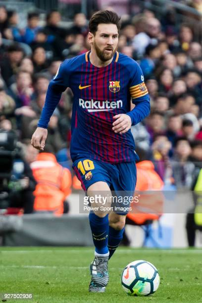 Lionel Andres Messi of FC Barcelona in action during the La Liga 201718 match between FC Barcelona and Getafe FC at Camp Nou on 11 February 2018 in...