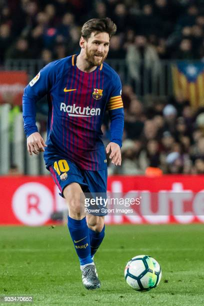 Lionel Andres Messi of FC Barcelona in action during the La Liga 201718 match between FC Barcelona and Girona FC at Camp Nou on 24 February 2018 in...