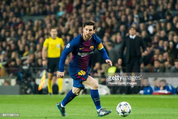 Lionel Andres Messi of FC Barcelona in action during the UEFA Champions League 2017-18 Round of 16 match between FC Barcelona and Chelsea FC at Camp...