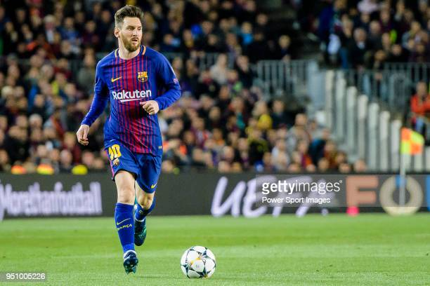Lionel Andres Messi of FC Barcelona in action during the UEFA Champions League 2017-18 quarter-finals match between FC Barcelona and AS Roma at Camp...