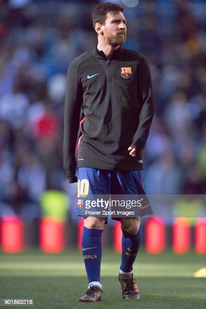 Lionel Andres Messi of FC Barcelona in training prior to the La Liga 201718 match between Real Madrid and FC Barcelona at Santiago Bernabeu Stadium...