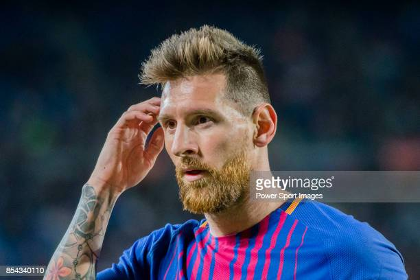 Lionel Andres Messi of FC Barcelona looks during the La Liga 201718 match between FC Barcelona and SD Eibar at Camp Nou on 19 September 2017 in...
