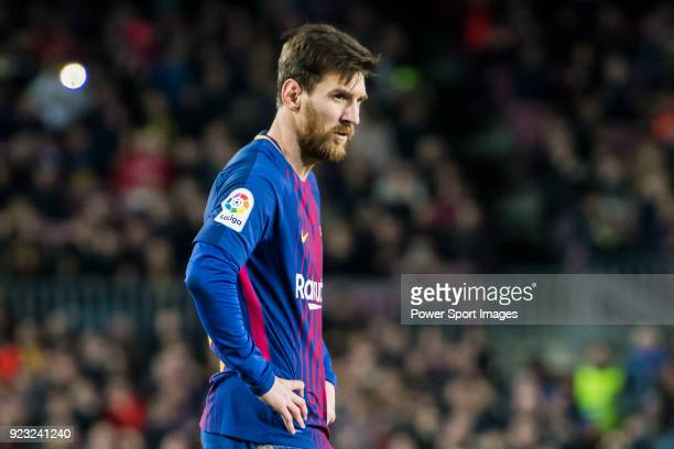 Lionel Andres Messi of FC Barcelona looks on during the La Liga 201718 match between FC Barcelona and Deportivo Alaves at Camp Nou on 28 January 2018...