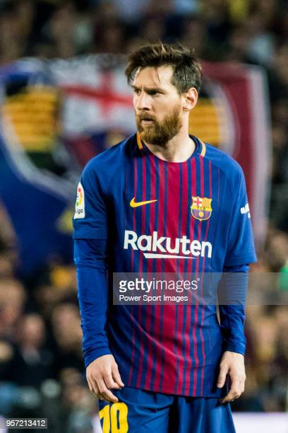 Lionel Andres Messi of FC Barcelona looks on during the La Liga match between Barcelona and Real Madrid at Camp Nou on May 6 2018 in Barcelona Spain
