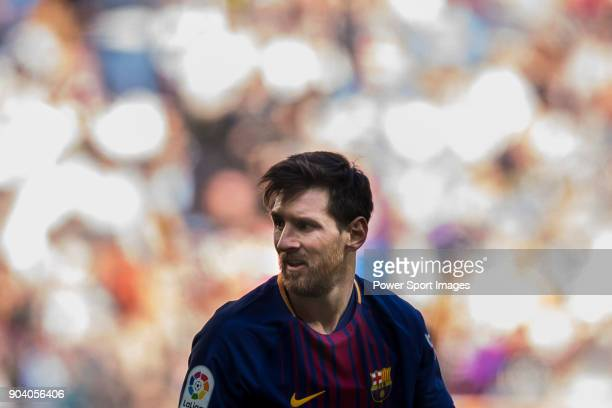 Lionel Andres Messi of FC Barcelona looks on during the La Liga 201718 match between Real Madrid and FC Barcelona at Santiago Bernabeu Stadium on...