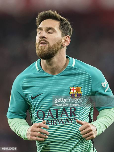 Lionel Andres Messi of FC Barcelona looks on during their Copa del Rey Round of 16 first leg match between Athletic Club and FC Barcelona at San...