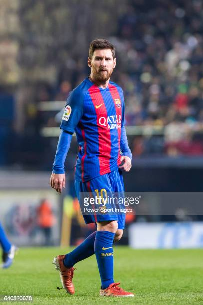 Lionel Andres Messi of FC Barcelona looks on during their La Liga match between Villarreal CF and FC Barcelona at the Estadio de la Cerámica on 08...