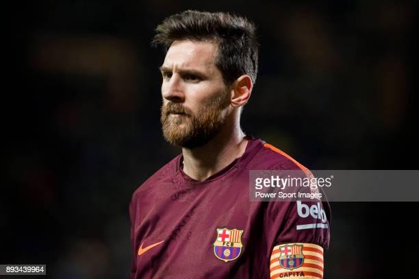 Lionel Andres Messi of FC Barcelona reacts during the La Liga 201718 match between Villarreal CF and FC Barcelona at Estadio de la Ceramica on 10...
