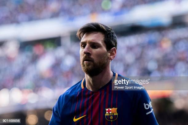 Lionel Andres Messi of FC Barcelona reacts during the La Liga 201718 match between Real Madrid and FC Barcelona at Santiago Bernabeu Stadium on...
