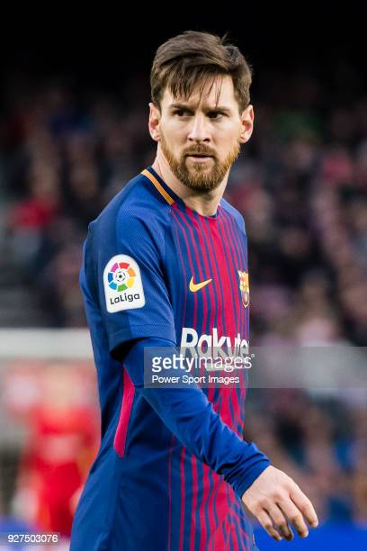 Lionel Andres Messi of FC Barcelona reacts during the La Liga 201718 match between FC Barcelona and Getafe FC at Camp Nou on 11 February 2018 in...