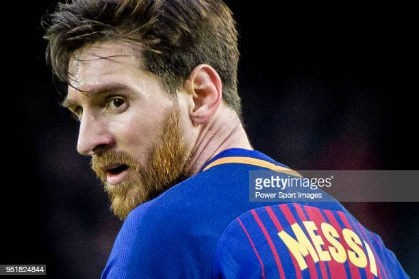 Lionel Andres Messi of FC Barcelona reacts during the La Liga 201718 match at Camp Nou between FC Barcelona and Atletico de Madrid on 04 March 2018...