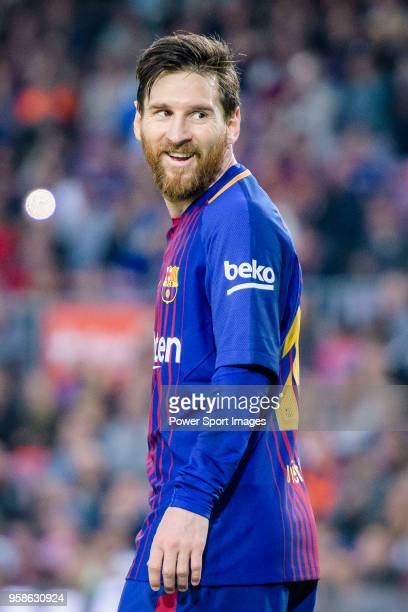 Lionel Andres Messi of FC Barcelona reacts during the La Liga 201718 match between FC Barcelona and Villarreal CF at Camp Nou on May 09 2018 in...