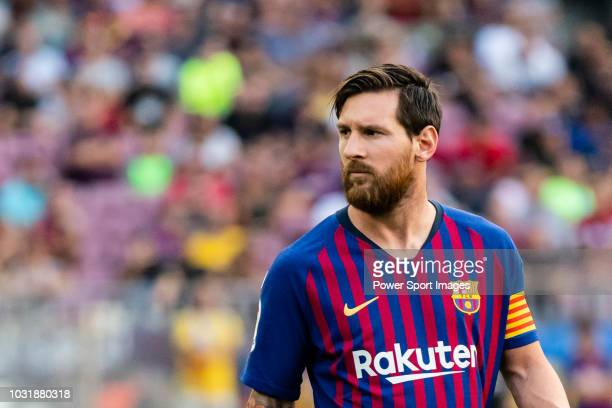 Lionel Andres Messi of FC Barcelona reacts during the La Liga 201819 match between FC Barcelona and SD Huesca at Camp Nou on 02 September 2018 in...