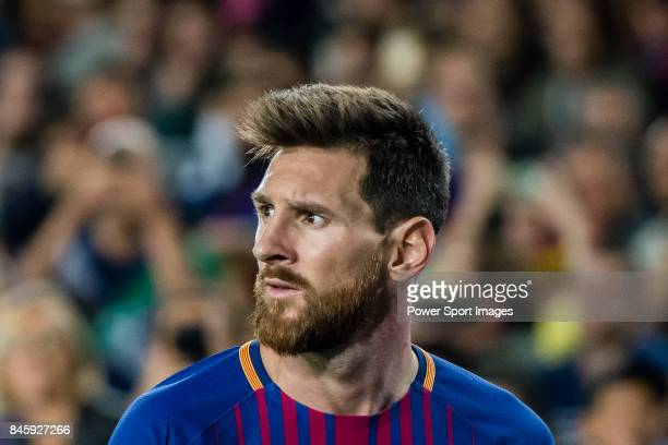 Lionel Andres Messi of FC Barcelona reacts during the La Liga match between FC Barcelona vs RCD Espanyol at the Camp Nou on 09 September 2017 in...