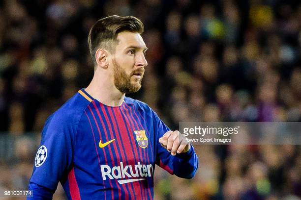 Lionel Andres Messi of FC Barcelona reacts during the UEFA Champions League 201718 quarterfinals match between FC Barcelona and AS Roma at Camp Nou...