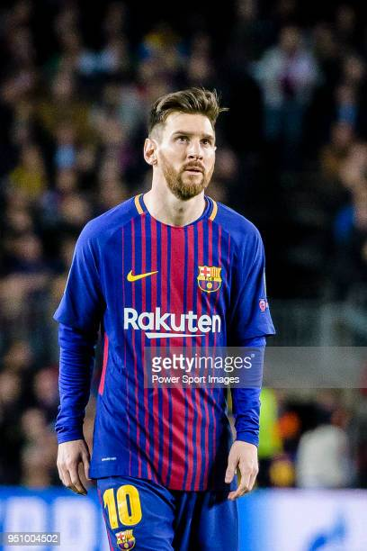 Lionel Andres Messi of FC Barcelona reacts during the UEFA Champions League 2017-18 quarter-finals match between FC Barcelona and AS Roma at Camp Nou...