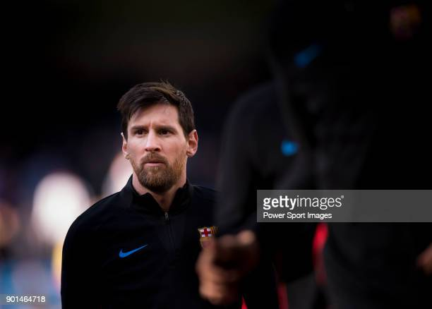 Lionel Andres Messi of FC Barcelona warms up prior to the La Liga 201718 match between Real Madrid and FC Barcelona at Santiago Bernabeu Stadium on...