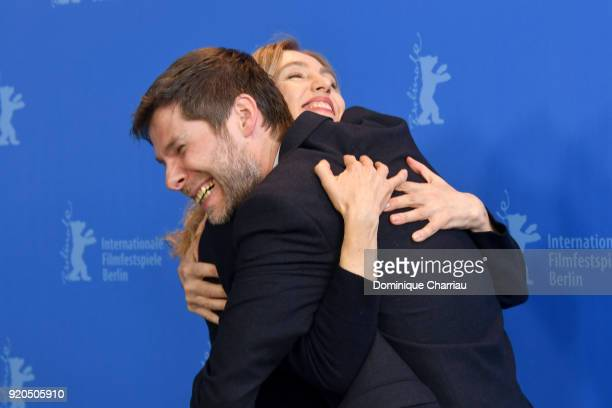 Lionel Baier and Ursina Lardi pose at the 'Shock Waves' photo call during the 68th Berlinale International Film Festival Berlin at Grand Hyatt Hotel...