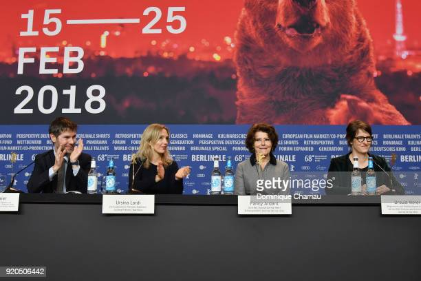 Lionel Baier Ursina Lardi Fanny Ardant and Ursula Meier are seen at the 'Shock Waves' press conference during the 68th Berlinale International Film...