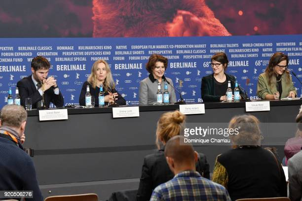 Lionel Baier Ursina Lardi Fanny Ardant Ursula Meier and host Margarita Tsomou are seen at the 'Shock Waves' press conference during the 68th...
