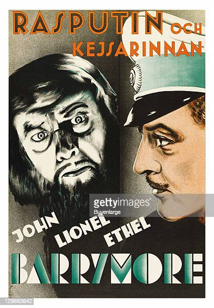 Lionel Barrymore and the face of Rasputin on a poster that advertises the movie 'Rasputin The Empress' 1932