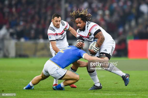 Lionel Beauxis and Mathieu Bastareaud of France during the NatWest Six Nations match between France and Italy at Stade Velodrome on February 23 2018...