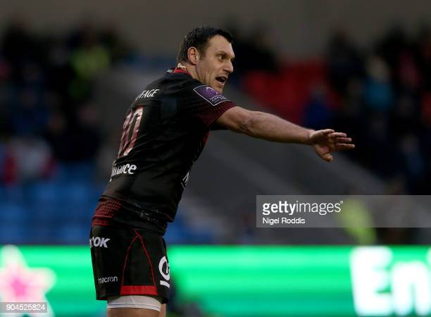 Lionel Beauxis of Lyon during the European Rugby Challenge Cup match between Sale Sharks and Lyon at the AJB Stadium on January 13 2018 in Salford...