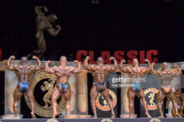 Lionel Beyeke Dallas McCarver Cedric McMillan Juan Morel and Maxx Charles compete in the Arnold Classic as part of the Arnold Sports Festival on...