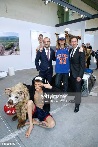 Lionel Bounoua The Kid and Stephane Bern attend the 'Art Paris Art Fair' Exhibition Opening at Le Grand Palais on March 29 2017 in Paris France