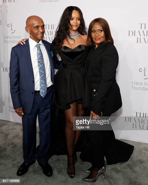 Lionel Braithwaite Rihanna and Monica Braithwaite attend the Diamond Ball at Cipriani Wall Street on September 14 2017 in New York City