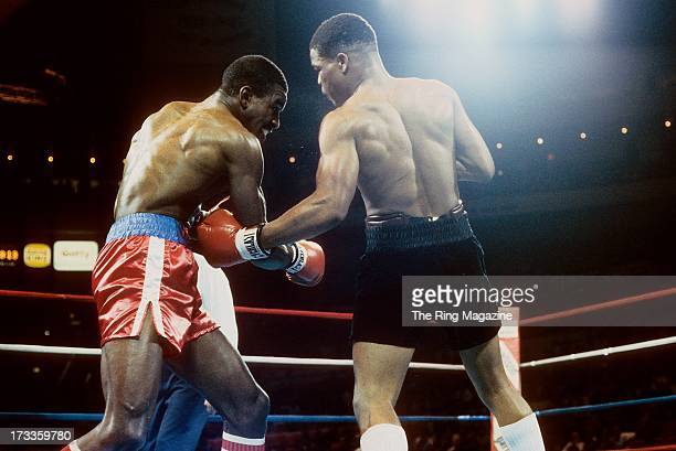 Lionel Byarm lands the punch against Evander Holyfield during the fight at Madison Square Garden in New York New York Evander Holyfield won by a UD 6...