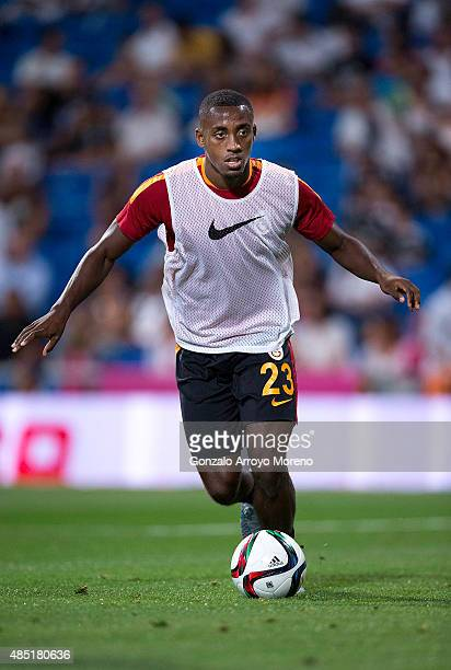 Lionel Carole of Galatasaray AS controls the ball during his warming up before the Santiago Bernabeu Trophy match between Real Madrid CF and...