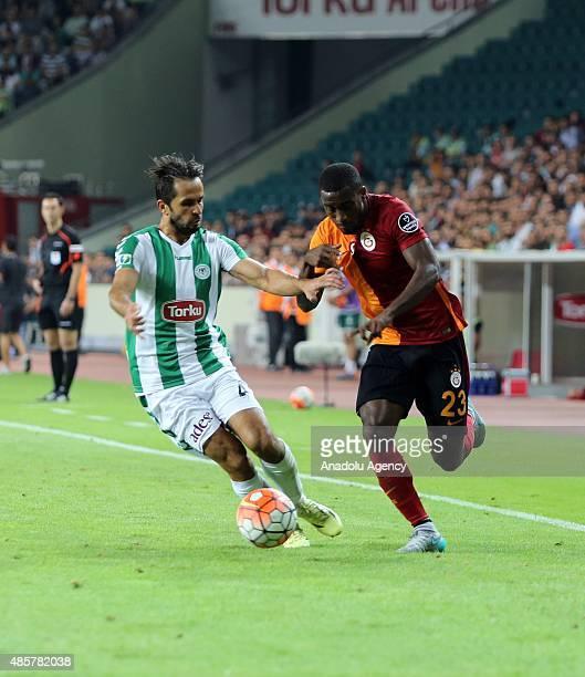 Lionel Carole of Galatasaray in action during the Turkish Spor Toto Super League football match between Torku Konyaspor and Galatasaray in Konya...