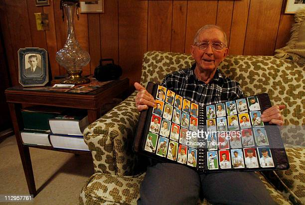 Lionel Carter talks about his baseball card collection and his life at his Evanston Illinois home April 4 2007 Carter's collection is not only one of...