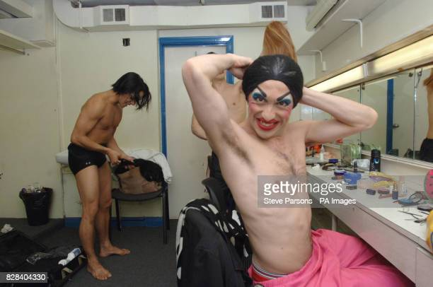 Lionel Droguet prepares for a dress rehearsal with 'Les Ballets Trockadero de Monte Carlo' an allmale ballet company from New York City who are...