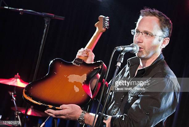 Lionel Girardon from Fender France introduces Fender Jaguar Kurt Cobain Guitar at Cafe 114 on September 29 2011 in Paris France