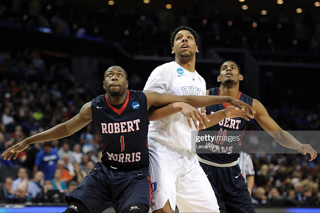 Lionel Gomis and Rodney Pryor of the Robert Morris Colonials