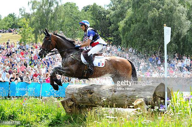 Lionel Guyon of France riding Nemetis de Lalou in the Eventing Cross Country Equestrian event on Day 3 of the London 2012 Olympic Games at Greenwich...