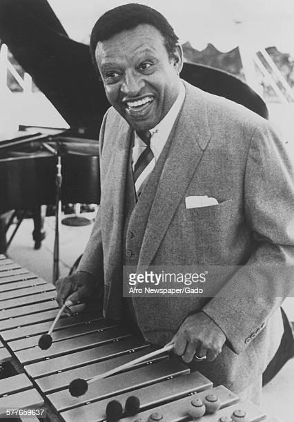 Lionel Hampton playing the vibraphone 1955