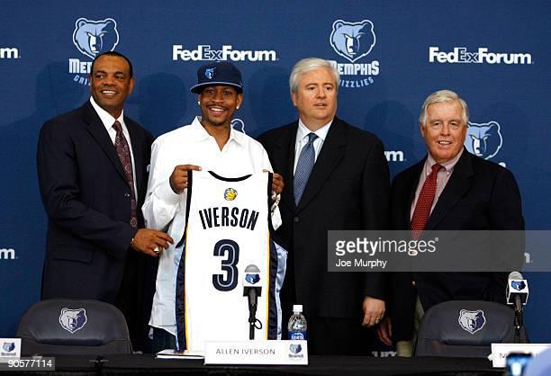 Lionel Hollins, head coach of the Memphis Grizzlies, Allen Iverson, of the Memphis Grizzlies, Chris Wallace, General Manager of the Memphis Grizzlies...
